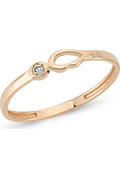 Arev Diamond Pırlanta Taşlı Rose Altın Kanat Yüzük YZ02183