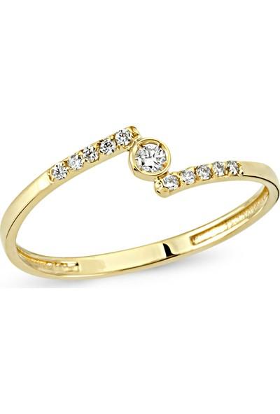 Arev Diamond Pırlanta Taşlı Sarı Altın Yüzük YZ02176