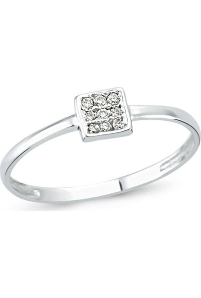 Arev Diamond Pırlanta Taşlı Beyaz Altın Kare Yüzük YZ02173