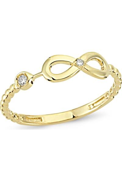 Arev Diamond Pırlanta Taşlı Sarı Altın Sonsuzluk Yüzük YZ02185