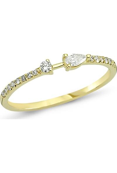 Arev Diamond Pırlanta Taşlı Sarı Altın Yüzük YZ02110