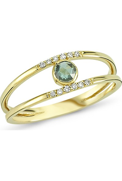 Arev Diamond Pırlanta ve Elmas Taşlı Sarı Altın Yüzük YZ02112