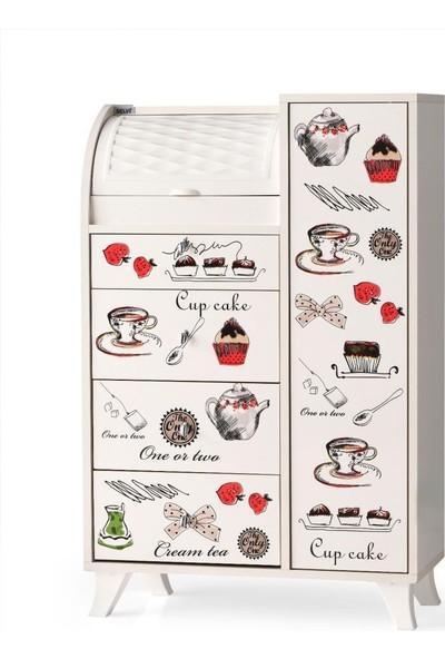 Sivasgözde Ahşap Dolaplı Çekmeceli Desenli Mutfak Kiler Dolabı Büyük Ekmeklik