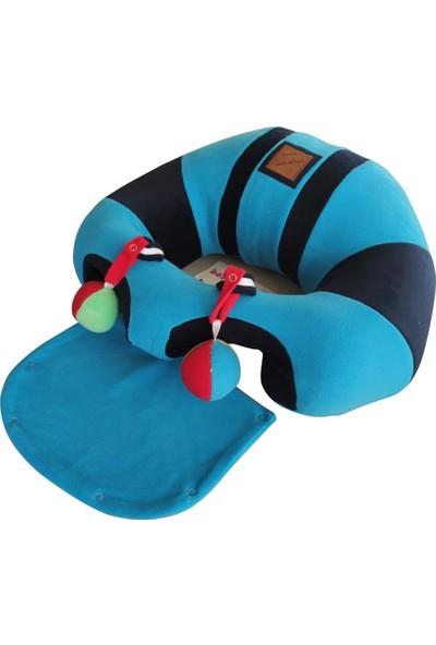Bebe Yatmaz Çıngıraklı Mavi-Lacivert Bebeyatmaz Bebek Oturma Destek Minderi Bebek Koltuğu