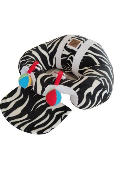 Bebe Yatmaz Çıngıraklı Zebra-Beyaz Bebeyatmaz Bebek Oturma Destek Minderi Bebek Koltuğu