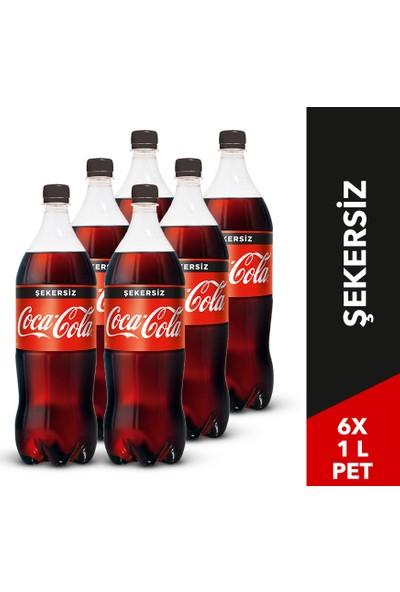 Coca-Cola Şekersiz Pet 1 Litre, 6'lı Paket