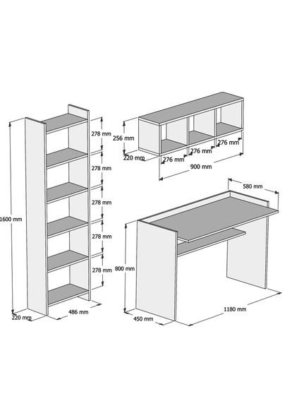 Bimossa Hürrem Kitaplık ve Raflı Çalışma Masası Ceviz Beyaz