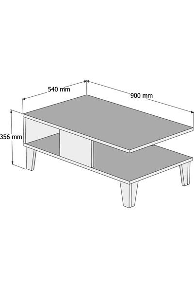 Bimossa O2040 Sümer Orta Sehpa 90cm Beyaz/Ceviz