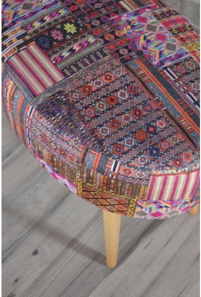 Zeen Concept Valente Oval Puf Kilim Desenli