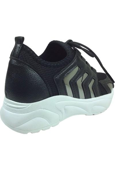 Grafen Filet Siyah Platin Aynalı Çavuş Desen Kız Çocuk Günlük Spor Ayakkabı Bağcıklı Triko