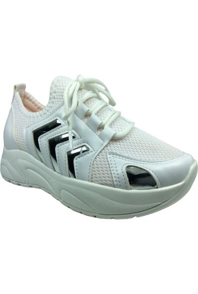 Grafen Filet Beyaz Gümüş Aynalı Çavuş Desen Kız Çocuk Günlük Spor Ayakkabı Bağcıklı Triko