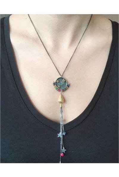 D'amour 925 Ayar Gümüş Renkli Taş Detaylı Yıldız Figürlü Püsküllü Kolye