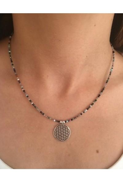 D'amour 925 Ayar Gümüş Doğal Taş Detaylı Yaşam Çiçeği Figürlü Kolye