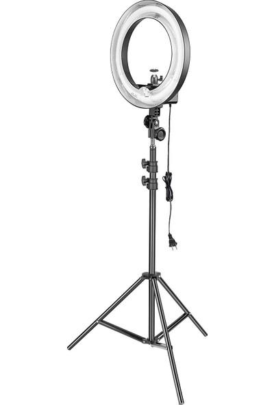 """Inovaxıs 14"""" Kuaför Makyaj Youtuber Çekimleri Ring Light Sürekli Işık 2 m Stand"""