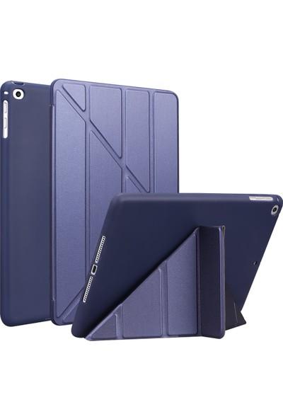 Fujimax Apple iPad Pro 10.5 / iPad Air 3 A1701 A1709 A1852 A2152 A2153 A2154 A2123 Seri Uyku Modlu Arka Soft Yumuşak Silikon Trifold Kılıf Lacivert