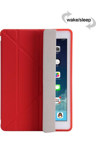 Fujimax Apple iPad 6.nesil 9.7 2018 A1893 A1954 Seri Uyku Modlu Arka Soft Yumuşak Silikon Trifold Kılıf + 9h Temperli Ekran Koruyucu Yeşil