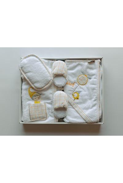 Bebitof Kuşlu Ayıcık Figürlü Bebek 5'li Havlu Bornoz Seti