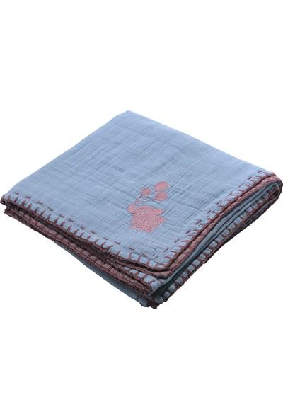 Miniyoki 100 x 100 cm 4 Kat Müslin Battaniye Çift Taraflı Fil Nakışlı - Mint Yeşili Gül Kurusu