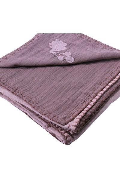 Miniyoki 100 x 100 cm 4 Kat Müslin Battaniye Çift Taraflı Fil Nakışlı - Açık Pembe Gül Kurusu
