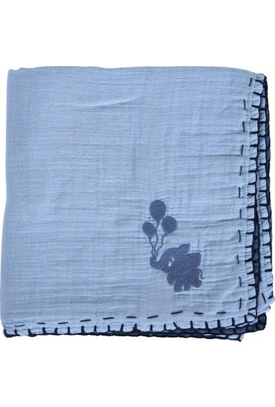 Miniyoki 100 x 100 cm 4 Kat Müslin Battaniye Çift Taraflı Fil Nakışlı - Lacivert Mint Yeşili