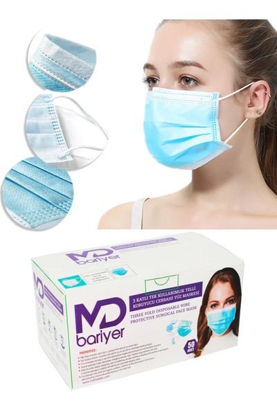 Md Bariyer Gökkuşağı 3 Katlı Burun Telli Full Ultrasonic Renkli Cerrahi Maske 50 Adet 2'li