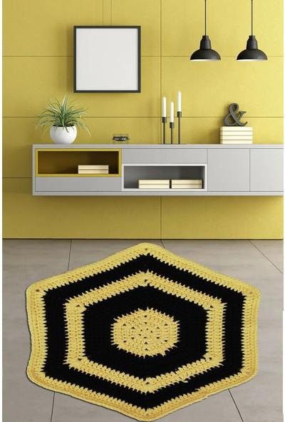 Nuh Home El Yapımı Penye Halı Sarı ve Siyah 6 Köşeli Halı