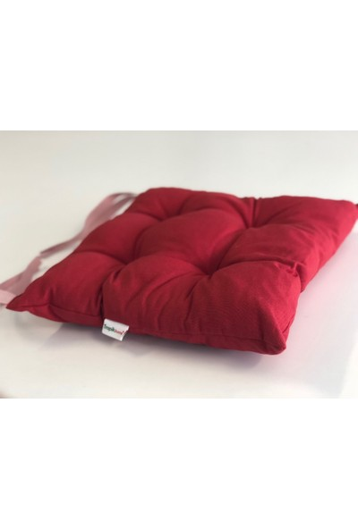 Tropik Home Kırmızı Renk Pufidik Silikon Dolgulu Çökme Yapmaz 40 x 40 cm Kare Sandalye Minderi