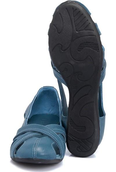 Tergan Mavi Deri Kadın Ayakkabı 64465J61