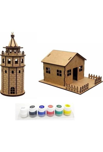 Hiç Dükkan 3D Maket Seti - Galata Kulesi - Bahçeli Ev - 6'lı Akrilik Boya