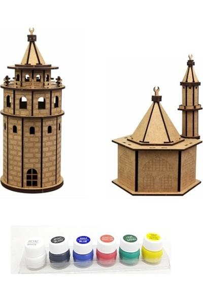 Hiç Dükkan 3D Maket Seti - Galata Kulesi - Cami - 6'lı Akrilik Boya
