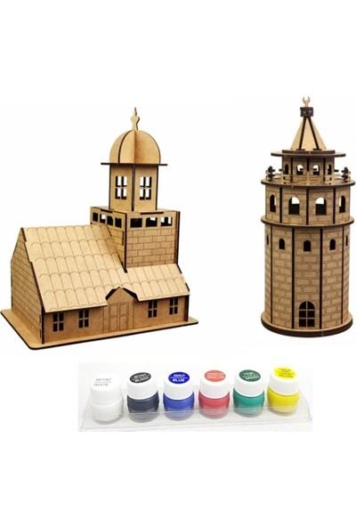 Hiç Dükkan 3D Maket Seti - Galata Kulesi - Kız Kulesi - 6'lı Akrilik Boya