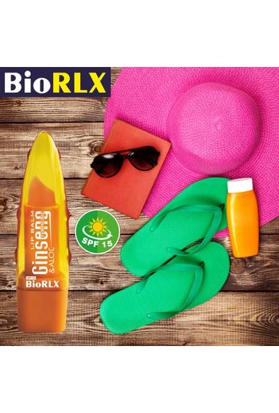 Biorlx Aloe Vera + Ginseng + Turmeric(Zerdeçal) Spf 15(Güneş Koruyucu) Lip Balm Color Free (Renksiz) + Paraben Free (Parabensiz) Unisex 3 Adet
