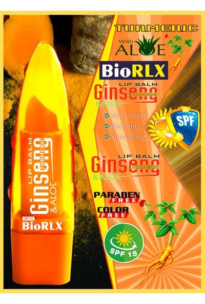 Biorlx Aloe Vera + Ginseng + Turmeric(Zerdeçal) Spf 15(Güneş Koruyucu) Lip Balm Color Free (Renksiz) + Paraben Free (Parabensiz)Unisex