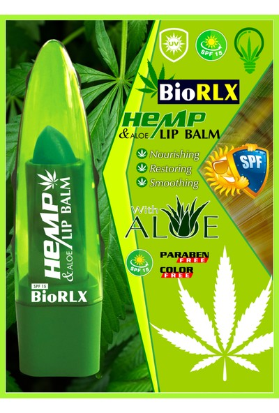 Biorlx Aloe Vera + Hemp Oil + Spf 15(Güneş Koruyucu) Lip Balm Color Free (Renksiz) + Paraben Free (Parabensiz)