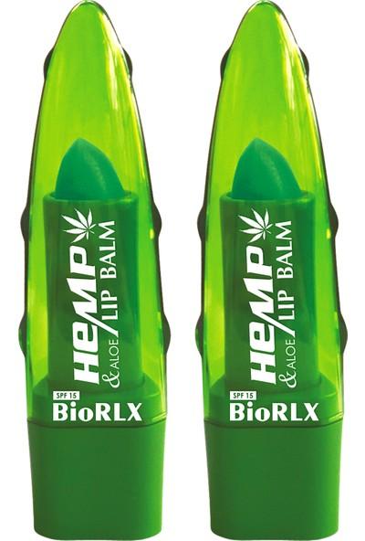 Biorlx Aloe Vera + Hemp Oil + Spf 15(Güneş Koruyucu) Lip Balm Color Free (Renksiz) + Paraben Free (Parabensiz) 2 Adet