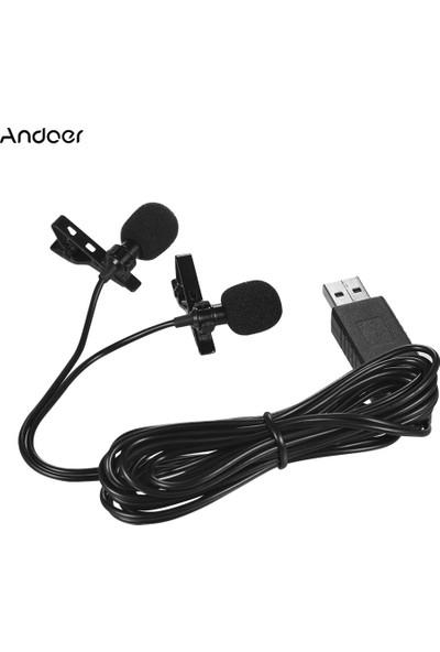 Andoer 1.5 m 5ft USB Çift Kafalı Yaka Mikrofon (Yurt Dışından)