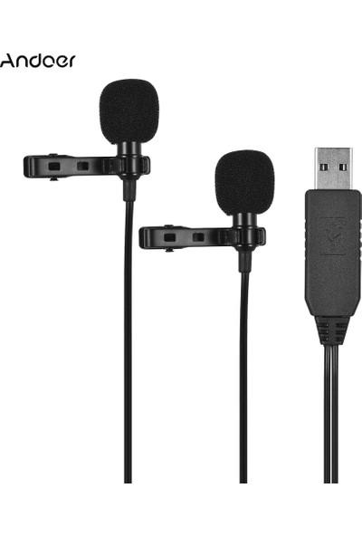 Andoer 4.5 m 15FT USB Çift Kafalı Yaka Mikrofon (Yurt Dışından)