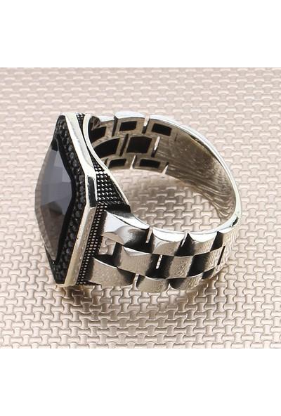 Prestige Gümüş Erkek Yüzük Zirkon Taşlı Nano Taş Süslemeli