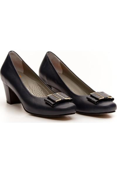 Deripabuc - Anatomik Hakiki Deri LACİVERT Kadın Topuklu Klasik Ayakkabı SHN-0172