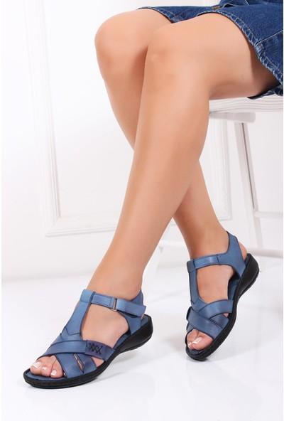 Deripabuc Hakiki Deri KOT MAVİ Kadın Sandalet DC-0111