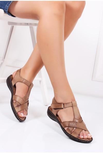 Deripabuc Hakiki Deri VİZON Kadın Sandalet DC-0111