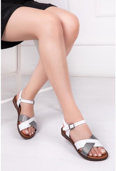 Deripabuc Hakiki Deri BEYAZ X3 Kadın Sandalet DP-0079