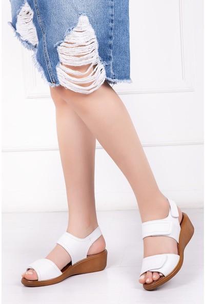 Deripabuc Hakiki Deri BEYAZ Kadın Sandalet DP-0976