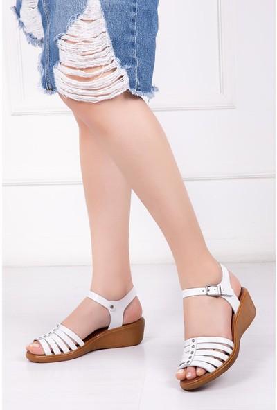 Deripabuc Hakiki Deri BEYAZ Kadın Sandalet DP-0979