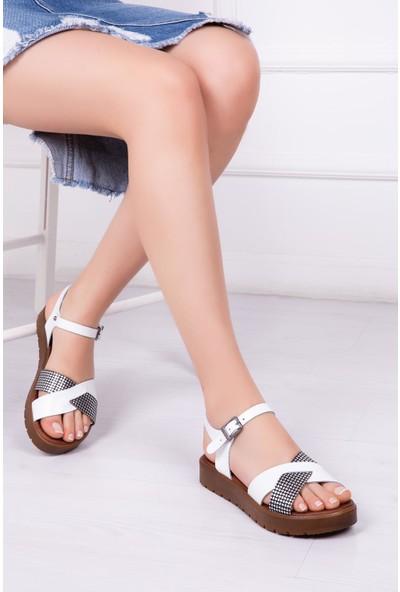 Deripabuc Hakiki Deri BEYAZ X3 Kadın Sandalet DP-1079