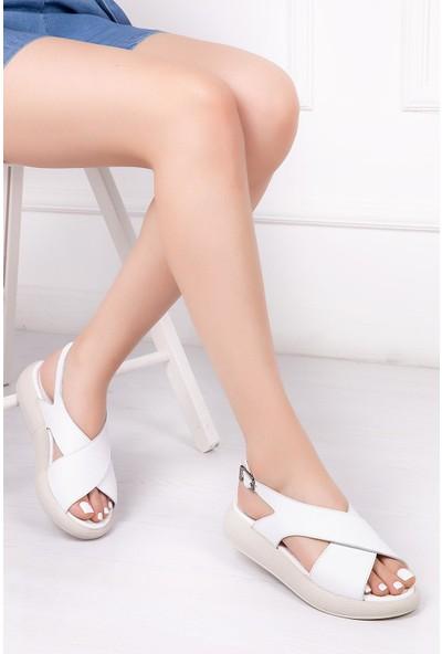 Deripabuc Hakiki Deri BEYAZ Kadın Sandalet DP-1845