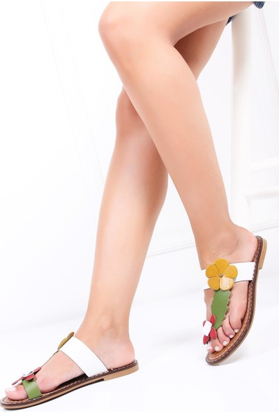 Deripabuc Hakiki Deri BEYAZ Kadın Sandalet DP28-0801