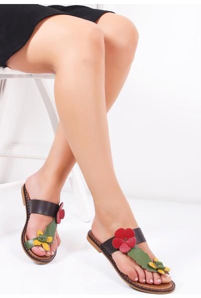 Deripabuc Hakiki Deri SİYAH Kadın Sandalet DP28-0801