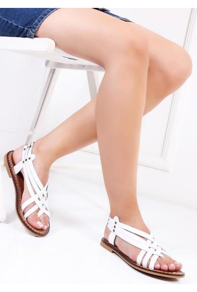Deripabuc Hakiki Deri BEYAZ Kadın Sandalet DP28-0808