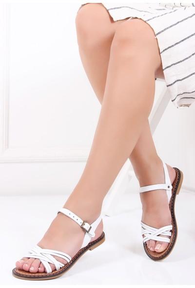 Deripabuc Hakiki Deri BEYAZ Kadın Sandalet DP28-0830